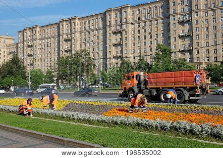 Moscow Russia - July 21 2017: Workers planting flowers in Moscow Russia