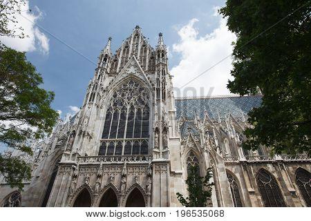 famous Votivkirche Votive Church close up. Vienna. Austria