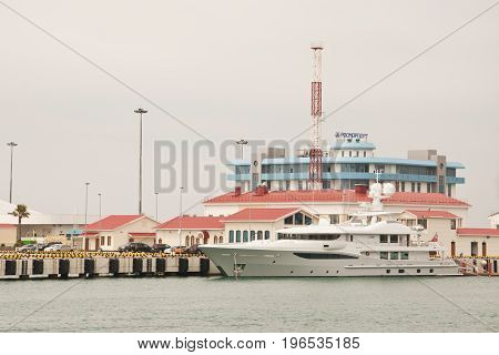 Sochi Russia - May 4 2017: Big yacht on the background of the building of Rosmorport Sochi