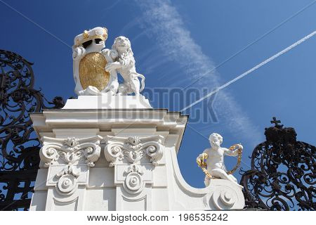 Lion Bears The Arms Of The Prince Of Savoy, At The Main Gate Of Belvedere Palace Vienna