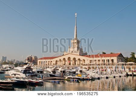 Sochi Russia - May 5 2017: the Building of the marine station and sailboats in Sochi in the evening