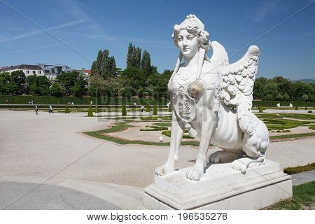 Sphinx In The Park Of Belvedere Palace, Belonged To Prince Eugene Of Savoy In Vienna