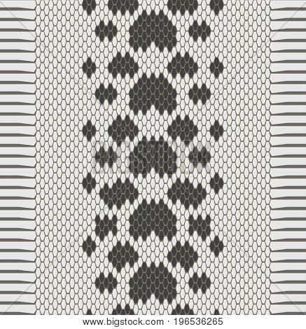 Vector seamless texture of snake skin, monochrome background