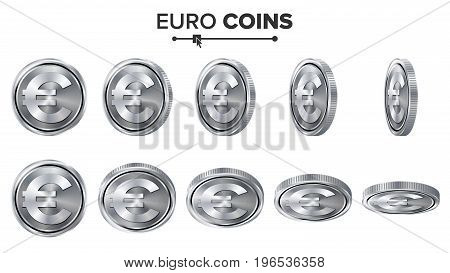 Money. Euro 3D Silver Coins Vector Set. Realistic Illustration. Flip Different Angles. Money Front Side. Investment Concept. Finance Coin Icons, Sign, Success Banking Cash Symbol