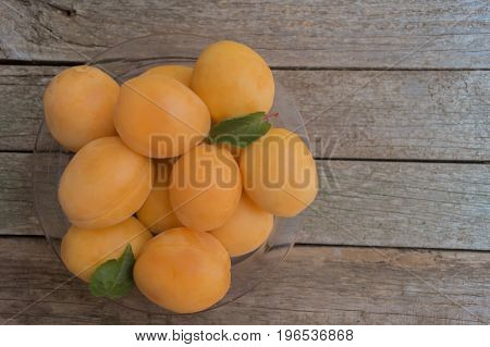 Ripe orange apricots in the plastic plate on grey wooden background