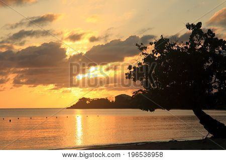 Negril beach. Sunset  in Jamaica. Caribbean sea.