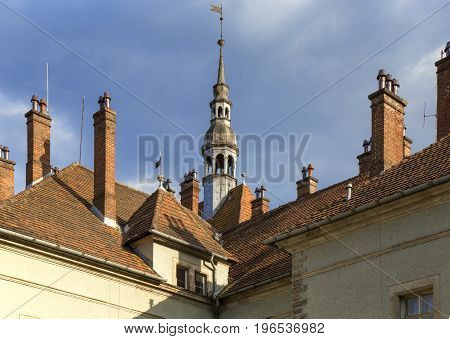 Tiled roof of the manor with towers