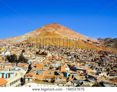 Cerro Rico and rooftops of Potosi city centre, Bolivia, South America.