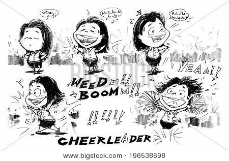 Pretty girl cheerleader dancing step dancing cartoon of Thai university student Character cute acting design pencil hand drawn.