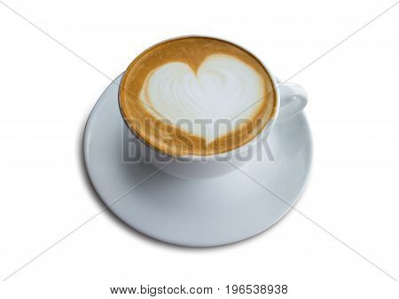 hot coffee with foam milk art isolated on white