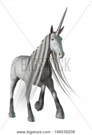 3D Rendering White Unicorn On White