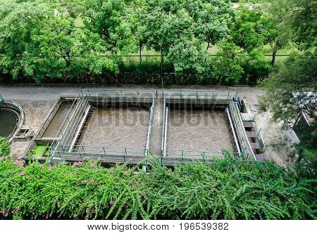 Waste water pipe or drainage polluting environment in Bangkok Thailand.
