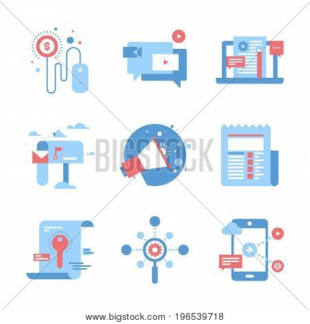 Vector set of flat digital marketing icons. Icon pack includes following themes - pay per click, video marketing, blog management, email marketing, promotion, news, keywording, SEO, mobile marketing