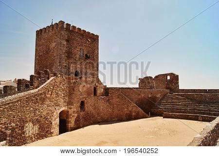castle tower and main sqyare of Monsaraz in Portugal