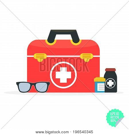 Vector Illustration In A Modern Flat Style, Health Care Concept. Medical Bag And Medical Icons. Flat