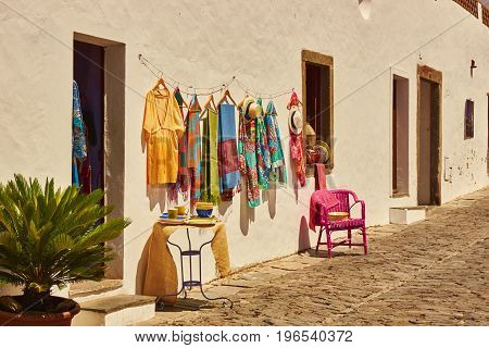 clothe hanging in the street of portuguese village Monsaraz