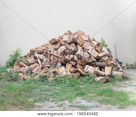 Pile of cut logs ready for winter