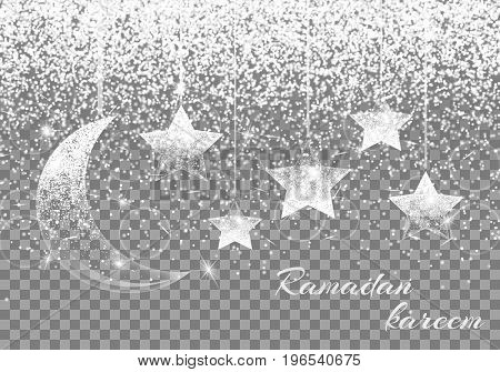 Glitter sparkle background with brilliant light, a crescent moon and star. Ramadan kareem pattern.