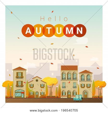 Hello autumn cityscape background , vector , illustration