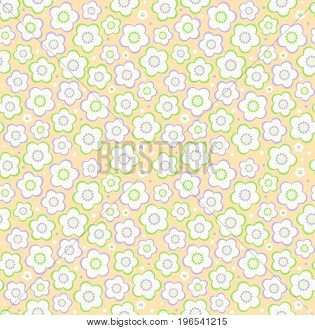 Seamless (easy to repeat - you see 4 tiles) floral pattern (background, wallpaper, print, swatch) of pastel colors