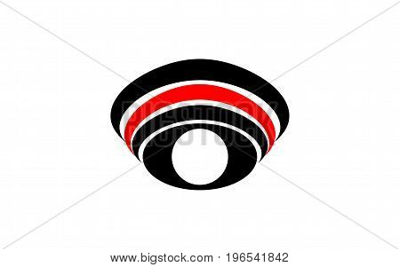 Vector logo symbol abstract eye with white pupil with arched lines over the eye of black and red on white background.