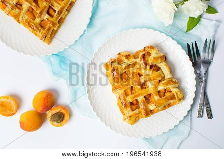 Sweet Fruit Pie With Apricot On A Plate