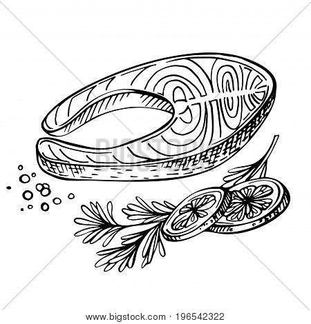 Steak of Red Fish, Salmon, with Lemon and Herbs. Sketch Seafood Menu. Ink Illustration of Fresh salmon steak ,close up