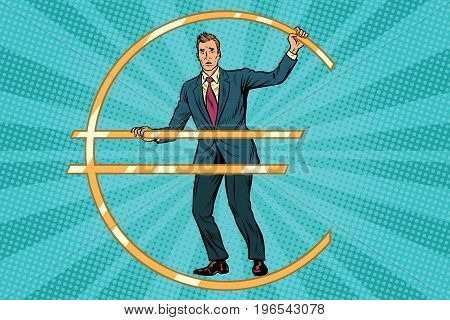Businessman prisoner in jail euro money. Pop art retro comic book vector illustration