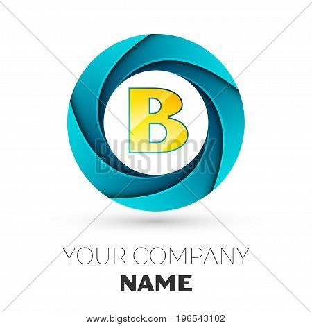 Realistic Letter B vector logo symbol in the colorful circle on white background. Vector template for your design