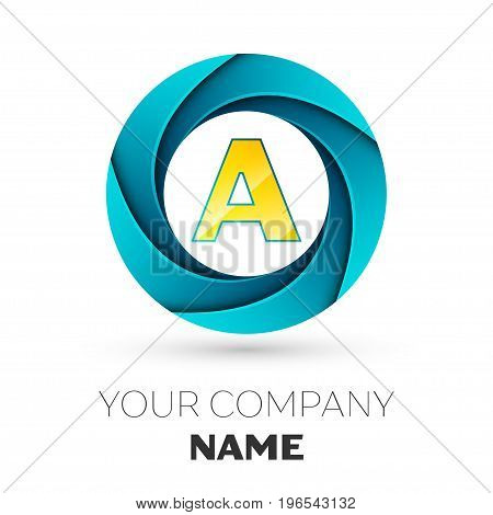 Realistic Letter A vector logo symbol in the colorful circle on white background. Vector template for your design