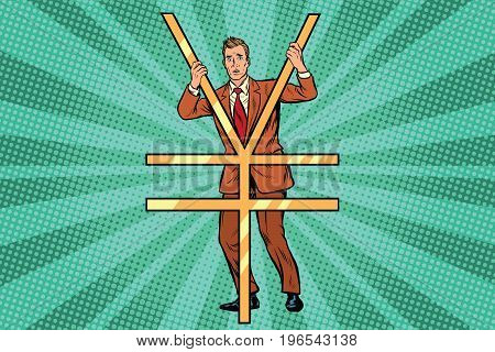 Businessman behind bars Ian money. Pop art retro comic book vector illustration