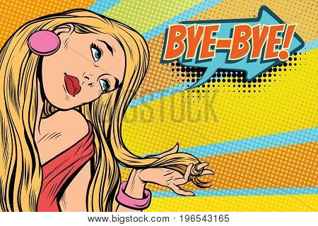 bye-bye woman, parting and farewell. Pop art retro comic book vector illustration