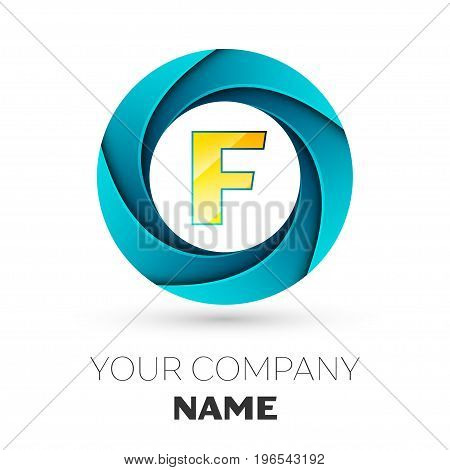 Realistic Letter F vector logo symbol in the colorful circle on white background. Vector template for your design