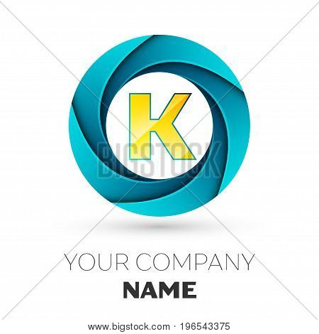 Realistic Letter K vector logo symbol in the colorful circle on white background. Vector template for your design
