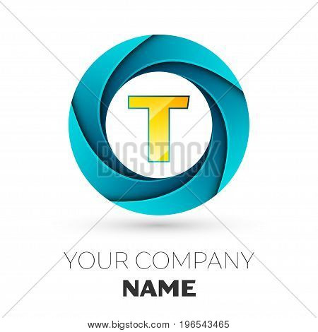 Realistic Letter T vector logo symbol in the colorful circle on white background. Vector template for your design