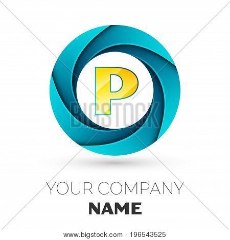 Realistic Letter P vector logo symbol in the colorful circle on white background. Vector template for your design