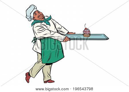 African Chef cook brings a tray of dessert cupcake. Pop art retro comic book vector illustration
