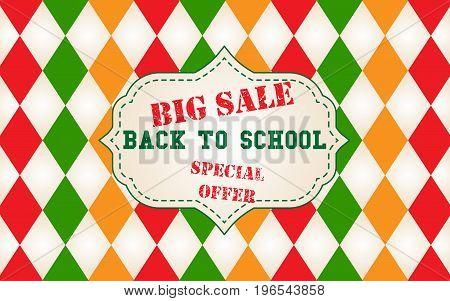 Back to school big sale colorful banner design with argyle pattern background. Vector illustration for sale promotion flyer, banner, poster.