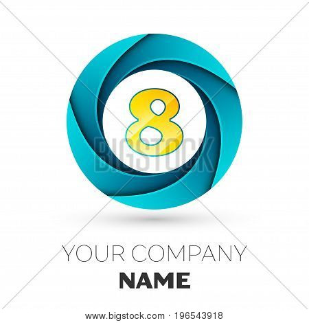 Realistic number eight vector logo symbol in the colorful circle on white background. Vector template for your design