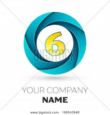 Realistic number six vector logo symbol in the colorful circle on white background. Vector template for your design