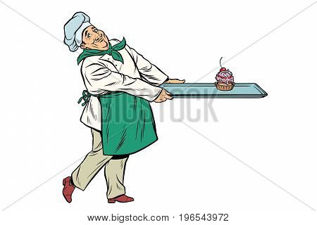 Chef cook brings a tray of dessert cupcake. Pop art retro comic book vector illustration