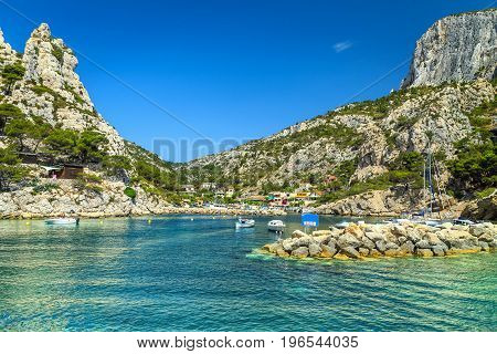 Spectacular touristic harbor in Calanques National Park Cassis France Europe