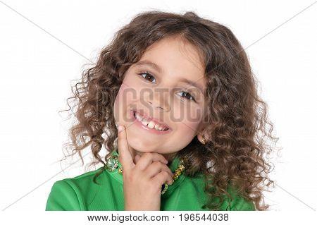 Portrait of a cute curly little girl