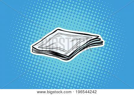 Paper napkins or handkerchiefs. Pop art retro comic book vector illustration