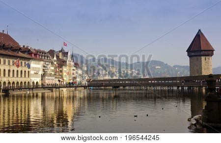 Lucerne, Switzerland - October 24, 2016 : View of the Lucerne city from cruise on the lake Lucerne