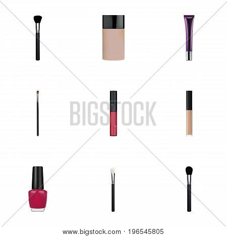 Realistic Varnish, Liquid Lipstick, Fashion Equipment And Other Vector Elements