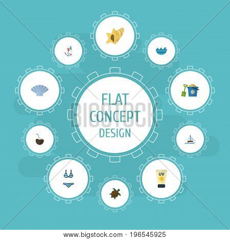 Flat Icons Conch, Shell, Anti-Sun Cream And Other Vector Elements