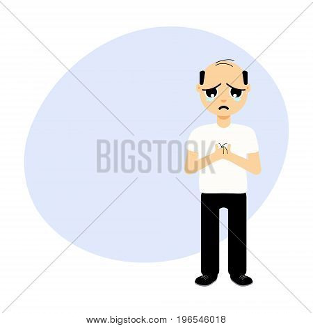 Full length portrait of a man crying over hair loss. Treatment and transplantation concept for clinics and diagnostic centers. Male alopecia template with place for text. Cartoon vector illustration
