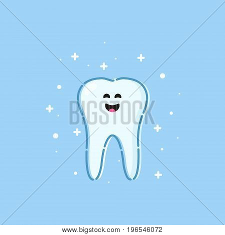 Smiling cartoon tooth character on blue background. Oral hygiene. Teeth whitening and restoration. Dental health symbol. Human body medical concept. Vector illustration.