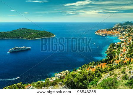 Majestic panorama of Dubrovnik with old town and famous clean beaches Dalmatia Croatia Europe